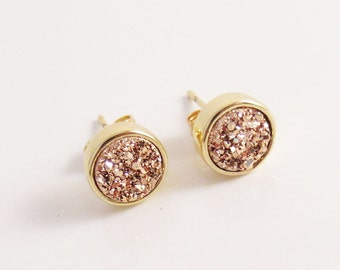 Rose Gold Druzy Studs, Dainty Everyday Earrings, Pink and Gold, Valentine's Day, Mother's Day, Gifts for Her, Bridesmaid, Bridal