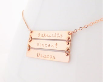 Rose Gold Three Bar Necklace, Personalized Names Necklace, Triple, Mommy Jewelry, Handstamped Hanamde