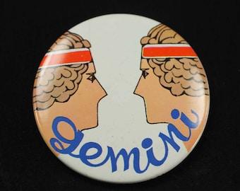 Vintage Gemini Button Astrology Zodiac Pinback Pin