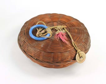 Vintage Button Basket with Lid for Sewing