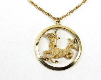 Vintage Capricorn Pendant Necklace Zodiac Sea Goat