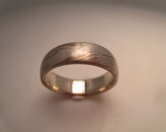 14 K Palladium White and Sterling Silver Unique bicolor mixed metal Custom Mokume Gane wedding band.