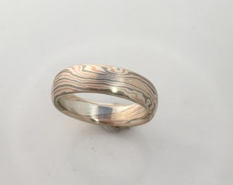 14K Rose Gold, 14K Palladium White Gold and Sterling  Silver Unique tricolor mixed metal Custom cool wave pattern Mokume Gane wedding band
