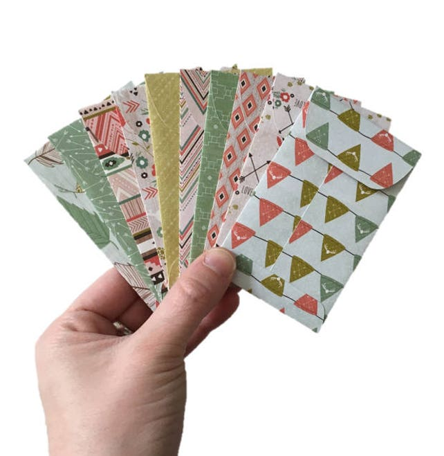 Set of 10 // Gift Card Holders // Gift Card Envelope // Mini Envelopes // Tribal Envelopes // Gift Envelopes // Tribal Stationery