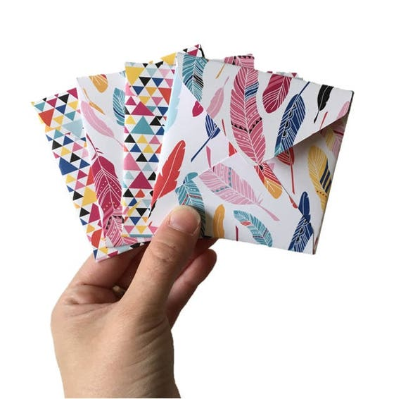 Set of 4 // Mini Square Envelopes // Feather Stationery // Feather Envelopes // Bright Stationery // Mini Envelopes // Square Envelopes