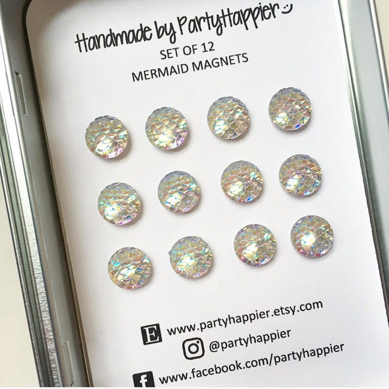 Tin  Scale Magnets  Mermaid Magnets  Fridge Magnets  Kawaii Magnets  Refrigerator Magnets  Resin Magnets Iridescent Magnets