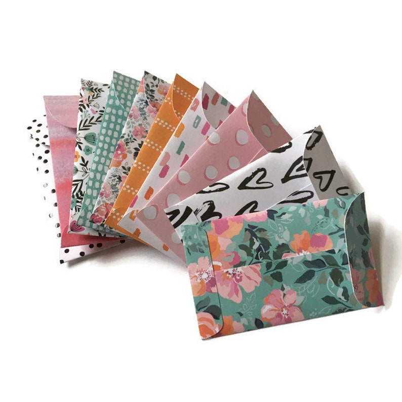 Set of 10  Gift Card Holders  Gift Card Envelopes  Mini Envelopes  Floral Envelopes  Pink Orange Blue Envelopes  Gift Envelopes