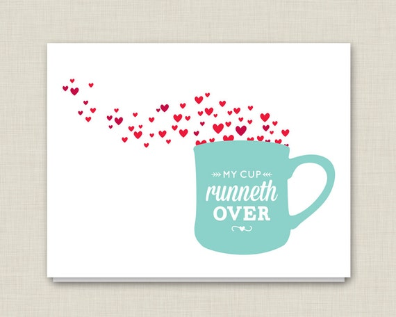 mother s day card my cup runneth over love card etsy rh etsy com my cup runneth over meaning my cup runneth over verse