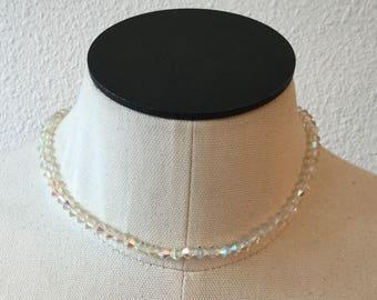 Crystal AB choker | Vintage clear aurora borealis crystal single  strand choker | 1950s crystal one  strand necklace