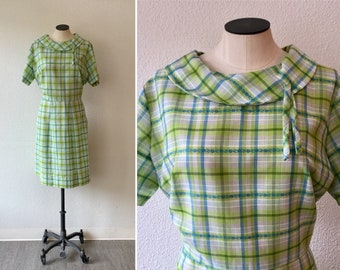 Glennbrook 60s dress| Vintage green plaid cotton day dress| 1960's floral embroidered short sleeve summer dress