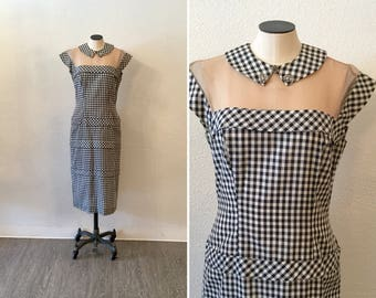 Mitzi 50s dress   Vintage gingham Lilli Diamond  shift   1950's black and white check wiggle dress