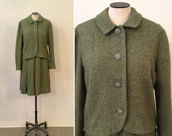 Loden suit | Vintage green wool tweed two puece suit | 1940s box pleat skirt and jacket suit