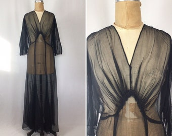 Vintage 30s dress   Vintage black chiffon full length evening dress   1930s sheer evening gown