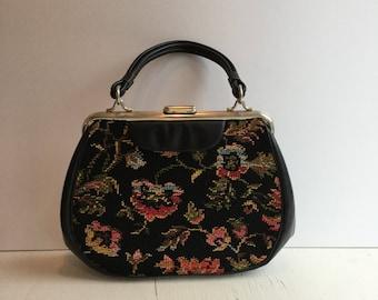 Dova 60s handbag | Vintage floral tapestry purse | 1960s black vinyl and crossstitch top handle bag
