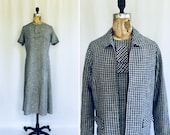 Vintage 50s dress suit Vintage Barney Max checked shift dress and matching jacket 1950 39 s blue white gingham dress and jacket