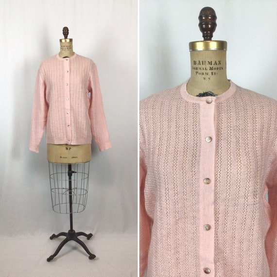 1950/'s Medallion Wool and Mohair Cardigan Sweater with Purple Floral Embroidery