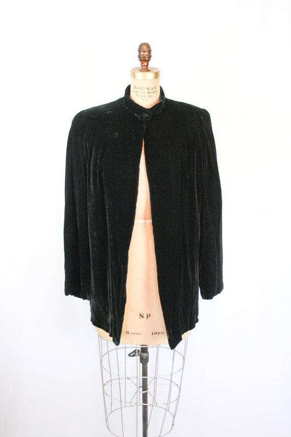 Vintage 30s jacket | Vintage black silk velvet  j… - image 3