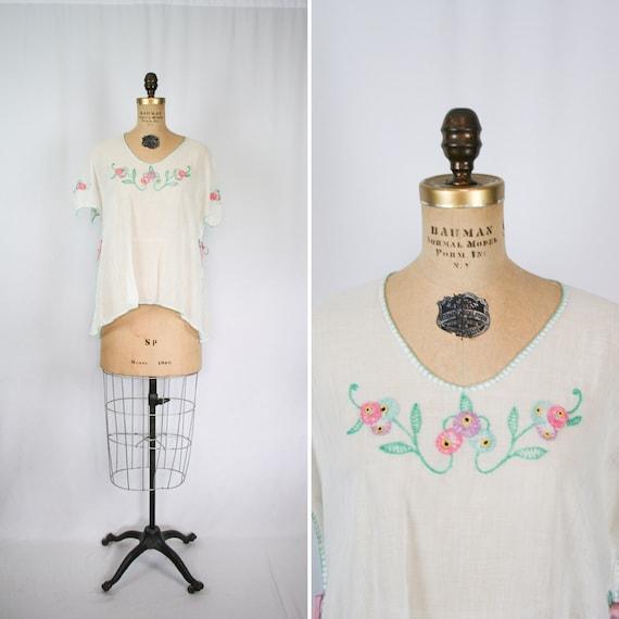 Vintage 20s blouse | Vintage white cotton embroide