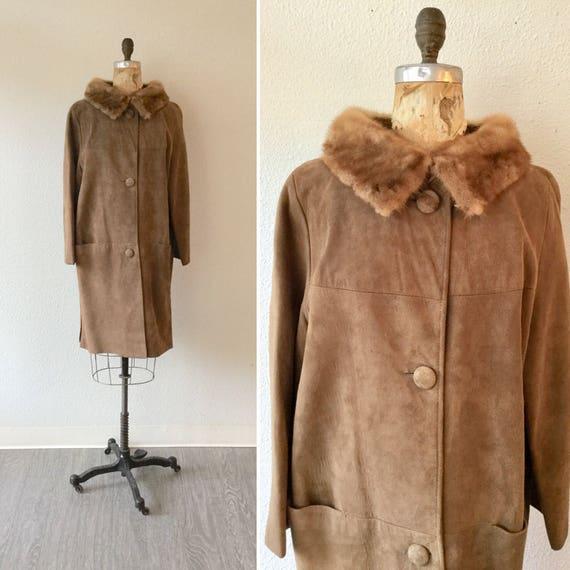 Carmalita 60s coat   Vintage caramel suede coat wi