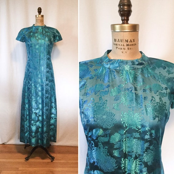 Vintage 50s Evening Dress   Vintage floral brocade
