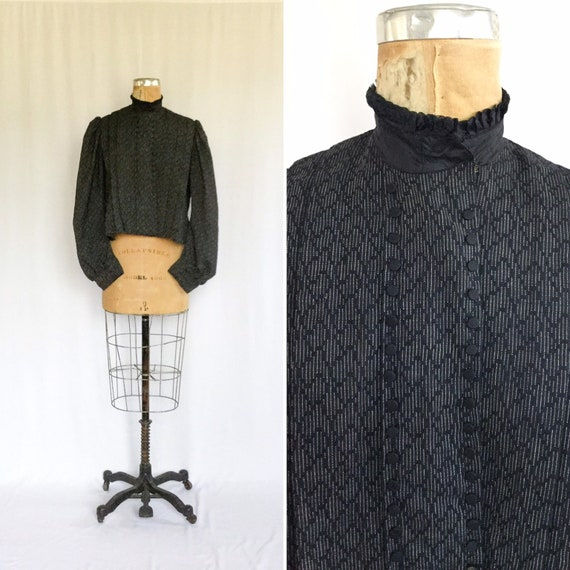 Antique Victorian Jacket | Vinatge navy wool shirt