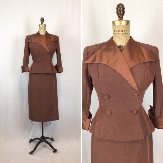 Vintage 40s suit | Vintage copper faille two piece