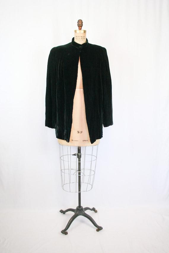 Vintage 30s jacket | Vintage black silk velvet  j… - image 5