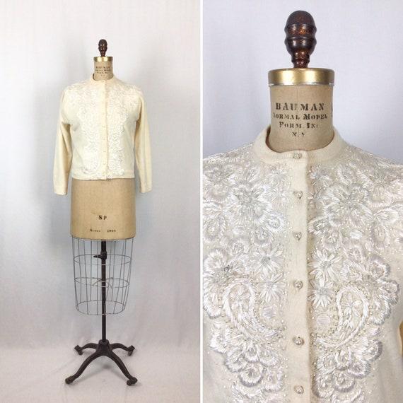 Vintage 50s beaded Cardigan   Vintage ivory wool b