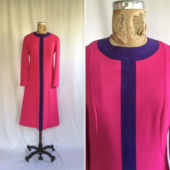 Vintage 60s knit dress| Vintage pink wool purple s