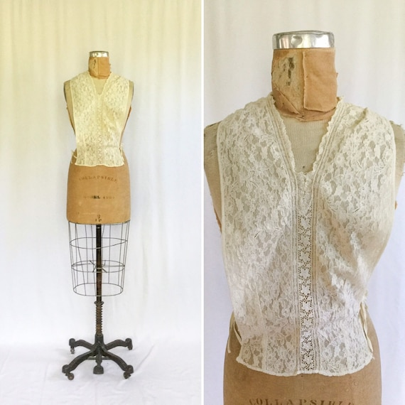 Vintage 30s dickie| Vintage cream netting and lace