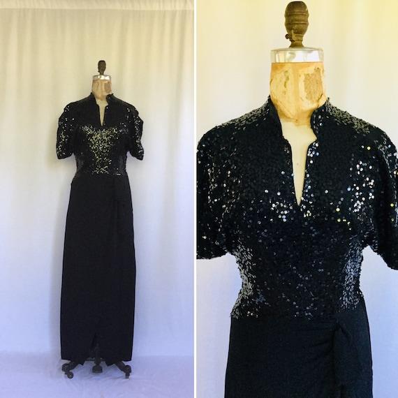 Vintage sequins 40s dress | Vintage black rayon cr