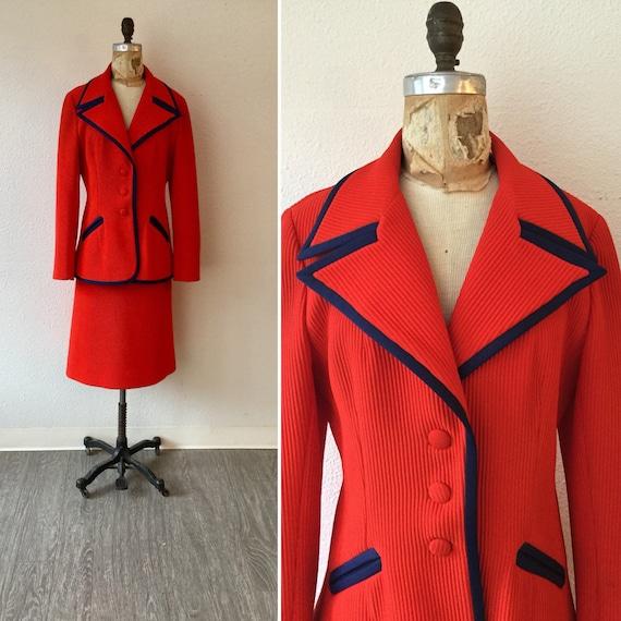 Lilli Ann 70s suit | Vintage tomato red knit suit