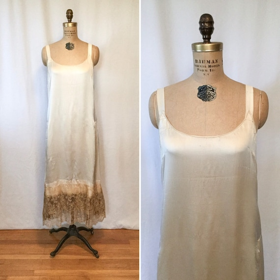 Frances 20s Tunic | Vintage cream silk lace slip d
