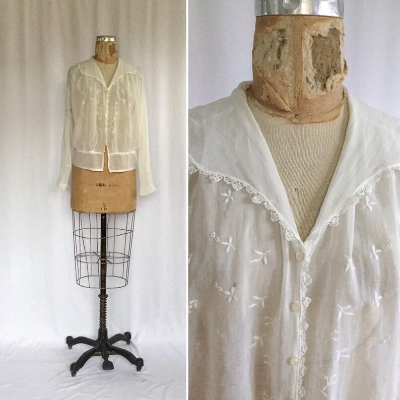 b082a1751019d Vintage Edwardian white Blouse Vintage white cotton