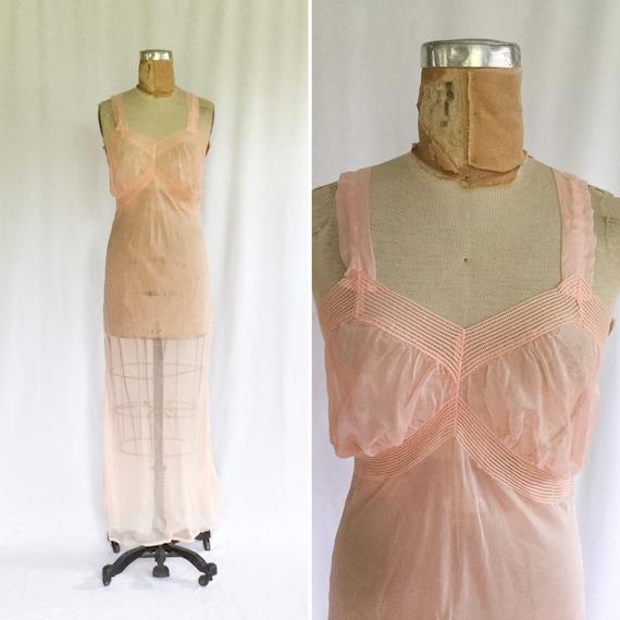 Vintage 30s nightgown | Vintage pink sheer nightgo