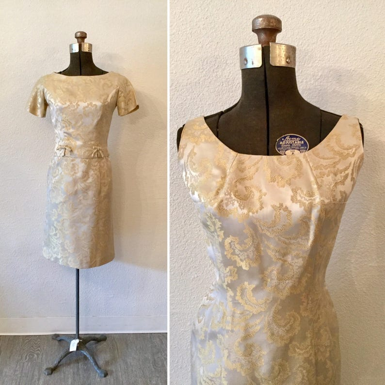 a261728eb2e Le Creme 50s suit Vintage cream brocade dress suit