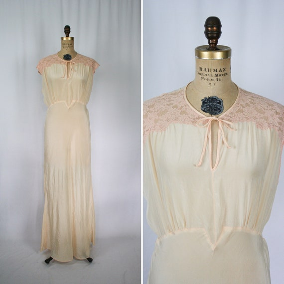 Vintage 40s nightgown | Vintage peach silk floral