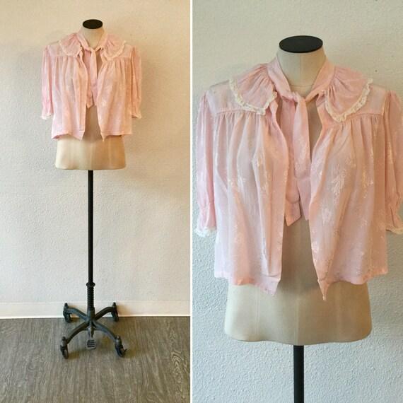 Princessa 50s bed jacket | Vintage floral  pink si