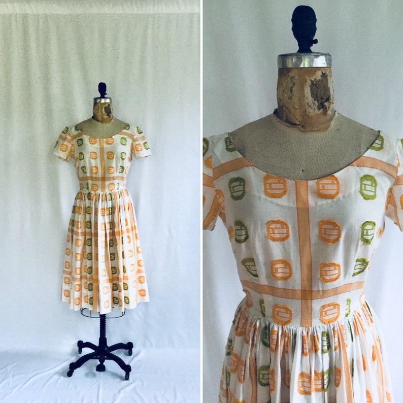 22359fe7b6 Vintage 50s dress Vintage cotton fit and flare dress 1950s