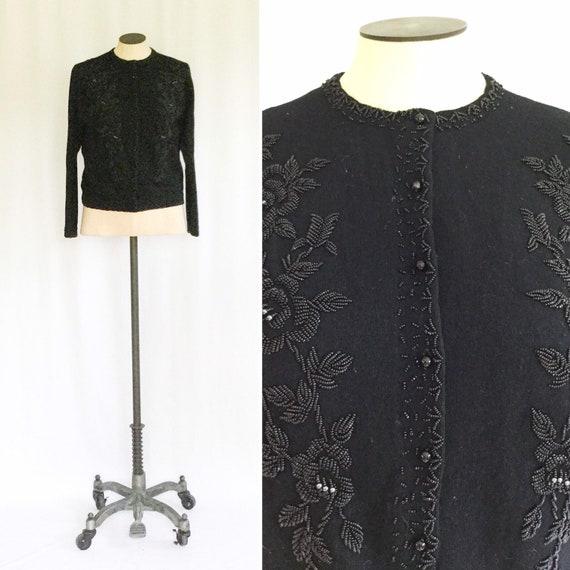 Vintage 50s beaded Cardigan | Vintage black beaded