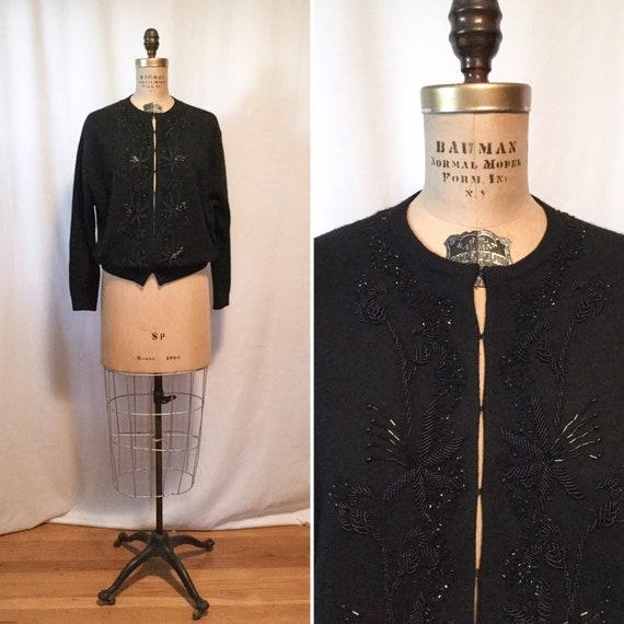 Vintage 50s beaded Cardigan | Vintage black floral