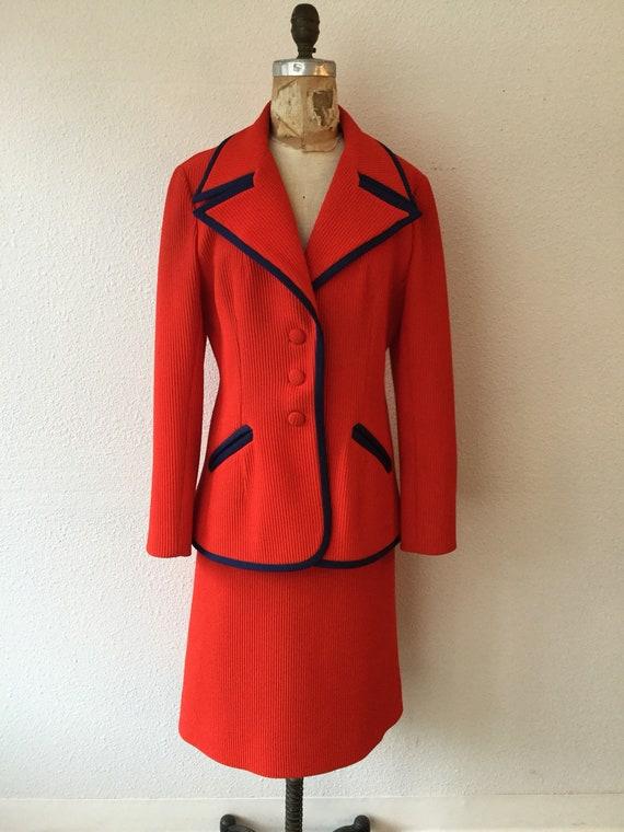Lilli Ann 70s suit | Vintage tomato red knit suit… - image 3