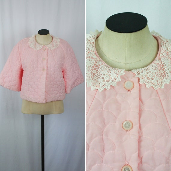 Vintage 50s bed jacket | Vintage quilted pink bed