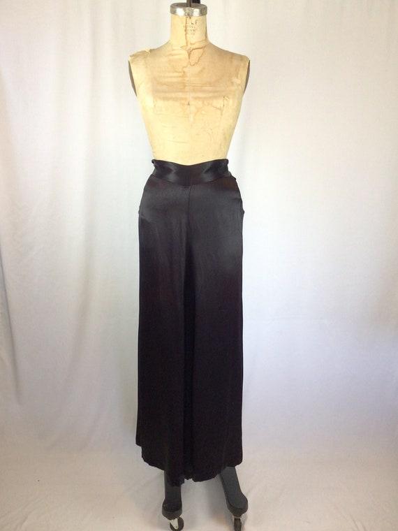 Vintage 40s pants | Vintage black silk satin pants