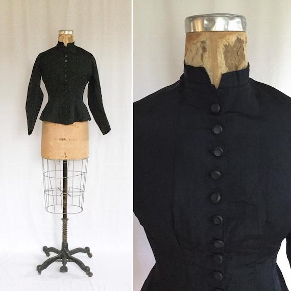 Antique Victorian Jacket | Vinatge black silk mour