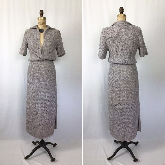 Vintage 40s dress | Vintage grey ribbon knit dress
