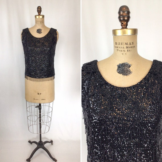 CashmereWool Zipper back Retro Blouse Sparkly Sleeveless Sweater Vest. Ivory beaded Shell Vintage Glass beaded top