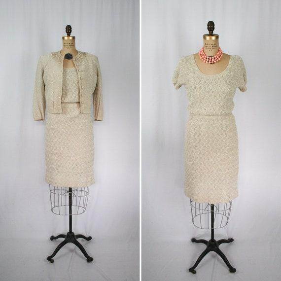 Vintage 50s knit suit | Vintage hand knit two piec