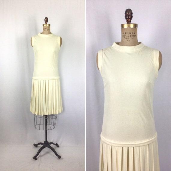 Vintage 60s dress | Vintage ivory drop waist dres… - image 1