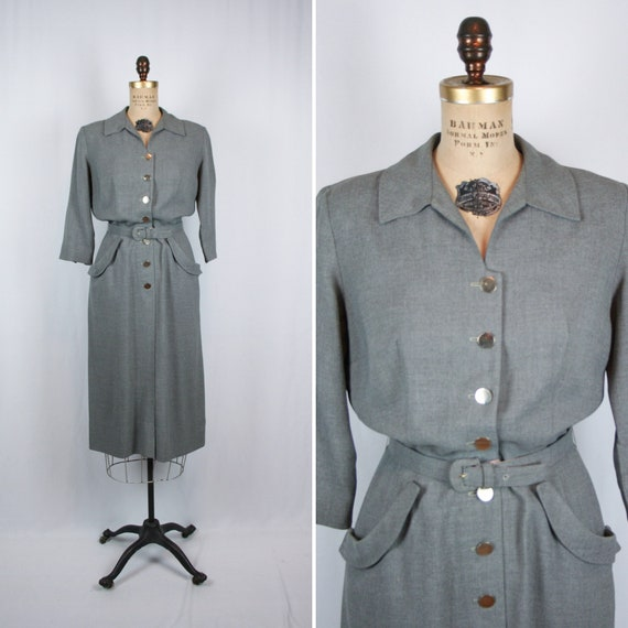Vintage 50s dress | Vintage grey heather gaberdine